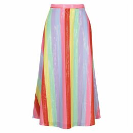 Olivia Rubin Penelope Striped Sequin Midi Skirt