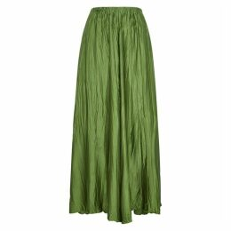 Forte forte Green Silk-satin Maxi Skirt
