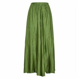 Forte forte Green Silk-satin Maxi Skirt