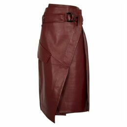 Petar Petrov Rita Red Leather Midi Wrap Skirt
