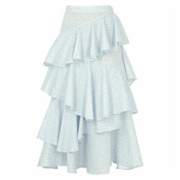 ALEXACHUNG Printed Tiered Cotton Midi Skirt