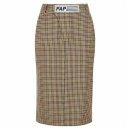 Filles à Papa Shaun Checked Stretch-twill Pencil Skirt