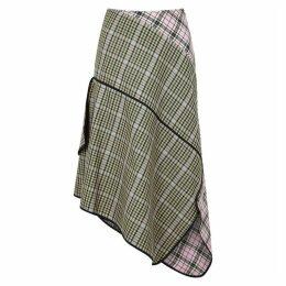 Brøgger Una Checked Wool-blend Midi Skirt