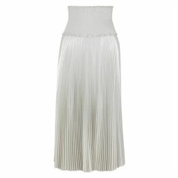 A.L.C. Hedrin Silver Pleated Lamé Skirt