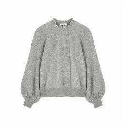 Frame Denim Grey Ruffle-trimmed Cashmere Jumper