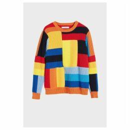 Chinti & Parker Rainbow Patchwork Rib Sweater