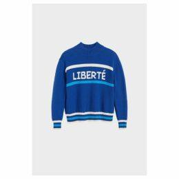 Chinti & Parker Blue Liberte Chunky Polo Neck Sweater