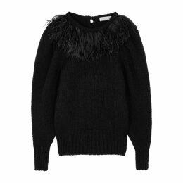 Philosophy Di Lorenzo Serafini Black Feather-trimmed Wool-blend Jumper