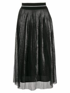 D.Exterior metallic pleated midi skirt - Black