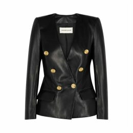 Alexandre Vauthier Black Double-breasted Leather Blazer