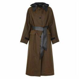 KASSL Brown Longline Waxed Cotton Coat