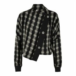 Crea Concept Black Checked Asymmetric Jacket