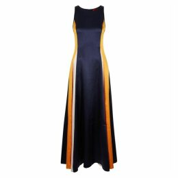 HUGO Navy Colour-blocked Satin Dress