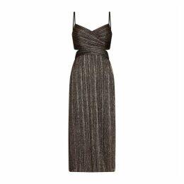 Aidan Mattox Pleated Lurex Stripe Dress
