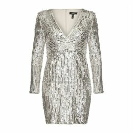 Aidan Mattox Long Sleeve Sequin Dress