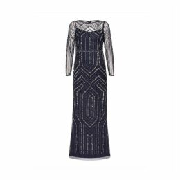 Adrianna Papell Geo Beaded Long Dress