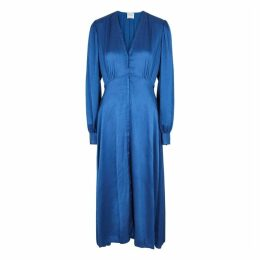 Forte forte Blue Plissé Satin Midi Dress