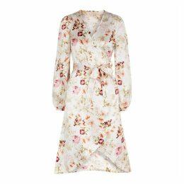 ByTiMo Azalea Floral-print Satin Wrap Dress