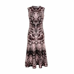 Alexander McQueen Crystal-jacquard Stretch-knit Midi Dress