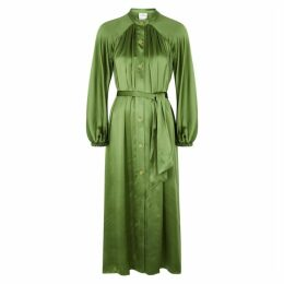Forte forte Green Silk-satin Midi Dress