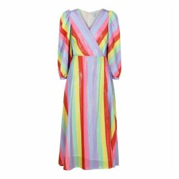 Olivia Rubin Imogen Striped Sequin Midi Dress