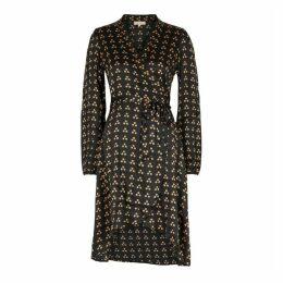 ByTiMo Black Dot-print Satin Wrap-dress