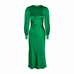 Olivia Von Halle Aureta Lagoon Green Bias-cut Silk Midi Dress