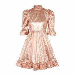 BATSHEVA Rose Gold Ruffle-trimmed Lamé Dress