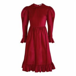 BATSHEVA Red Velvet Midi Dress