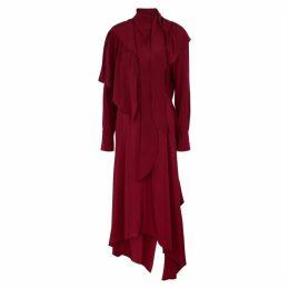 Petar Petrov Davison Red Silk Crepe De Chine Midi Dress
