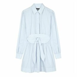 ALEXACHUNG Blue Striped Cotton Shirt Dress