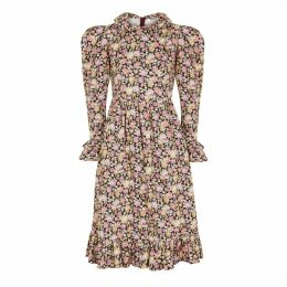 BATSHEVA Floral-print Ruffle-trimmed Cotton Dress