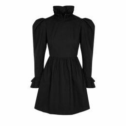 BATSHEVA Black Ruffle-trimmed Cotton Mini Dress