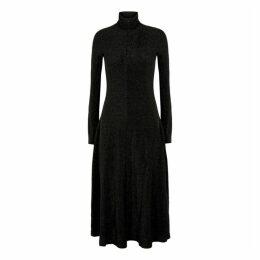 Rosetta Getty Black Metallic-weave Midi Dress