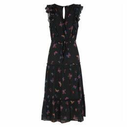 Paige Basil Butterfly-print Silk Midi Dress