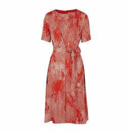 BOSS Duvana Printed Satin-twill Midi Dress