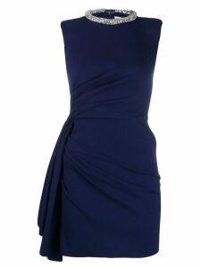 Alexander McQueen embellished draped short dress - Blue