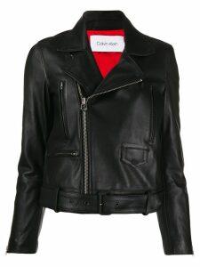 Calvin Klein buckled leather jacket - Black