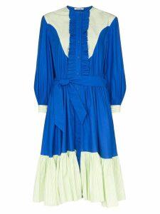 Batsheva Western contrast-panel midi dress - Blue