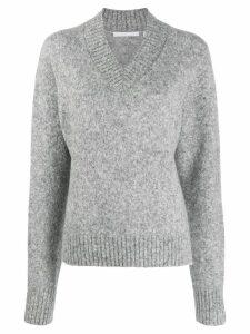 Helmut Lang Brushed V-neck Tie Sleeve Sweater - Grey