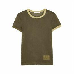 Helmut Lang Olive Cotton-blend Mesh T-shirt