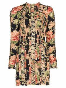Zimmermann peony-print lace-up mini dress - Black