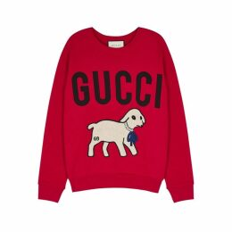 Gucci Red Embroidered Cotton Sweatshirt