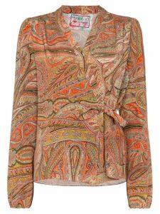 By Walid Haidee paisley-print wrap blouse