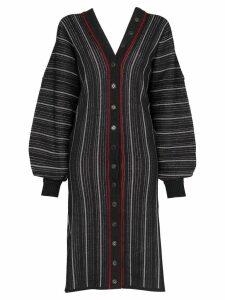 Y/Project V-neck striped cardigan dress - Black
