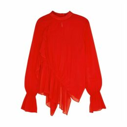 Preen Line Red Ruffled Georgette Blouse