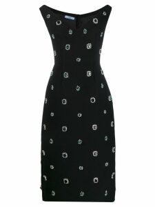 Prada crystal embellished fitted dress - Black