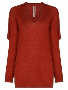 Rick Owens knitted distressed jumper - Red