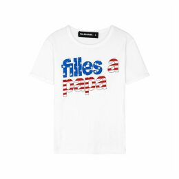 Filles à Papa Flash White Printed Cotton T-shirt