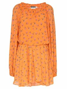 Rotate rose print draped mini dress - Orange